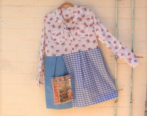 Large Farm Babydoll Dress/Upcycled Clothing/Cotton Country Dress/Shabby Chic Dress/Cowpunk dress/Charlottes Web Dress/Farm to table Dress
