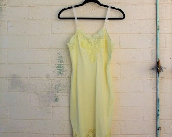 Vintage lemon chiffon full slip/Bridal white lingerie/wedding night bridal designer/Vintage Lingerie/1960s slipdress/Bridal shower/Yellow