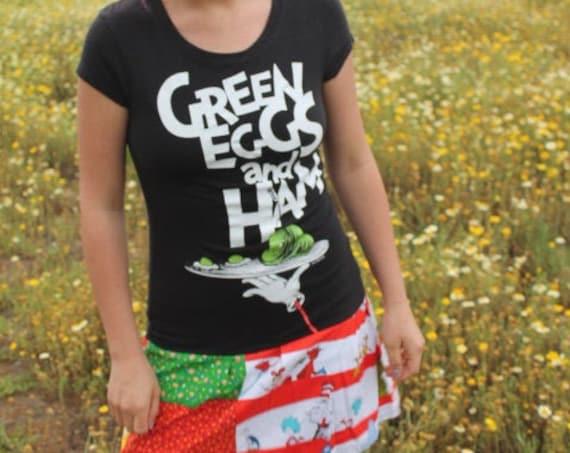 Small Dr Seuss Babydoll Dress/Upcycled Clothing/School teacher Dress/Kindergarten teacher Dress/Green Eggs and Ham/Geek Couture Dress