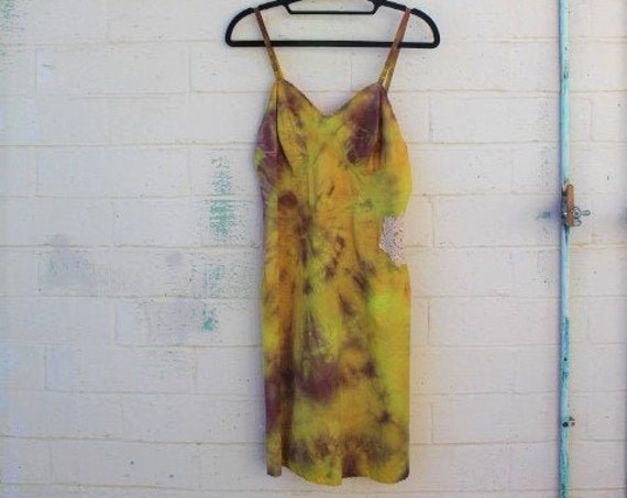Drew Vintage Slipdress/Tie Dye Dress/altered couture/Ecru Tie Dye Slip Dress/Vintage Slip/Upcycled clothing/Love/Sunflower Daisy Dress/Sun