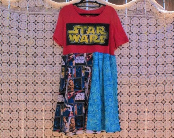 Large Star Wars Babydoll Dress/Geek Dress/Star Wars Dress/Upcyled Clothing/Geek Couture/Nerd Dress/Comic Con dress/Leia/Luke/Wookie Dress