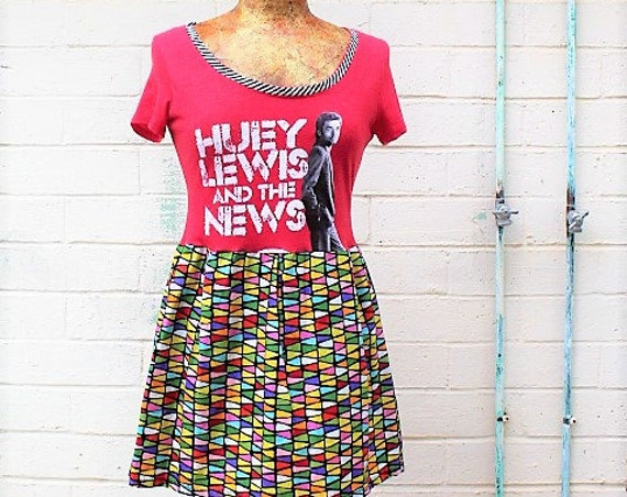 Small Huey Lewis and the News Babydoll Dress/Folk Rock Dress/American Rock Dress/Babydoll Dress/Upcycled Clothing/Short Dress/rock and roll