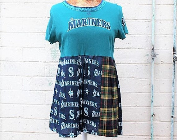 Seattle Mariners Dress/Upcycled Babydoll Dress/Mariners Baseball Dress/Babydoll Dress/Upcycled Clothing/summer baseball dress/Summer