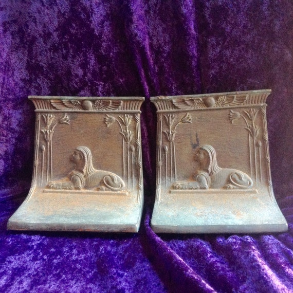 "Rare Bookends/1922 1922 Bradley & Hubbard ""Sphinx"" Cast Iron Bookends/Tutankhamens Tomb/"