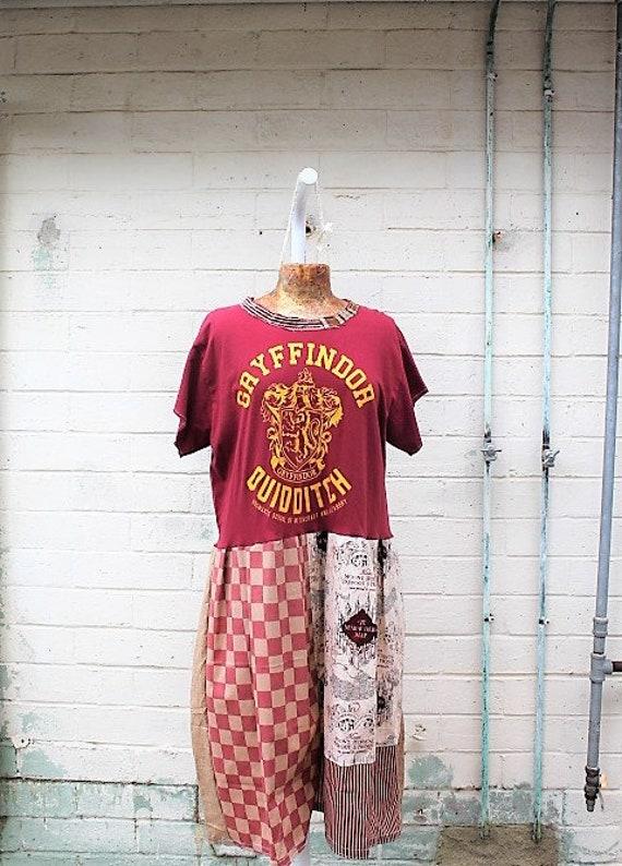 Large Harry Potter Babydoll Dress/Upcyled Clothing/Hogwarts Dress/Gryffindor Dress/Upcycled Dress/Quidditch Dress/Quilted Magic Dress/Eco