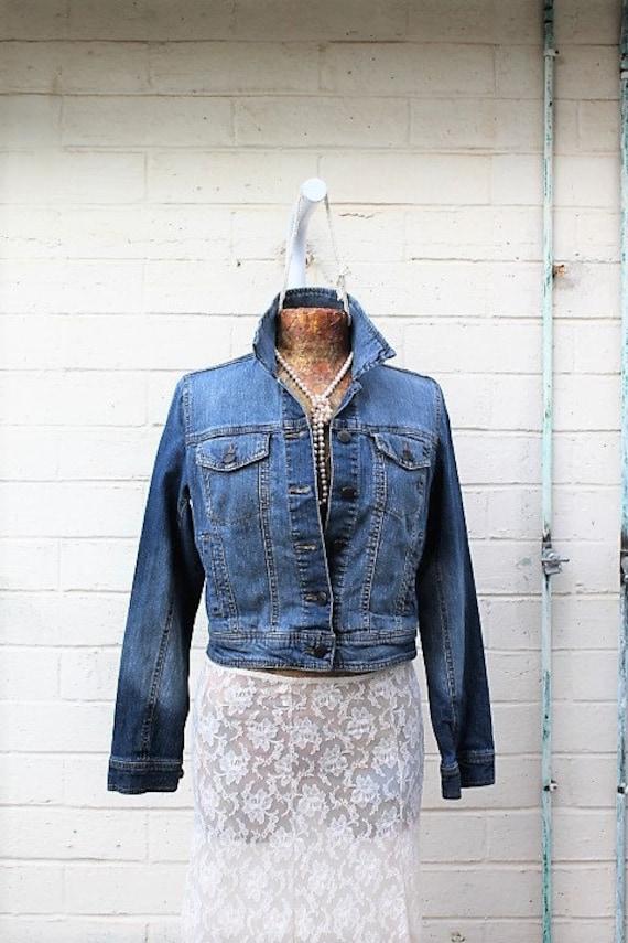 Small Jean Jacket/Upcycled Desperately Seeking Susan Jean Jacket/Cropped Jean Jacket/80's Clothing/Lace Doily Jacket/Vintage Madonna Jacket