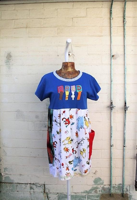Large Dr Seuss Babydoll Dress/Upcycled Clothing/School teacher Dress/Kindergarten teacher Dress/Church Camp dress/Read Dr Seuss Dress/child