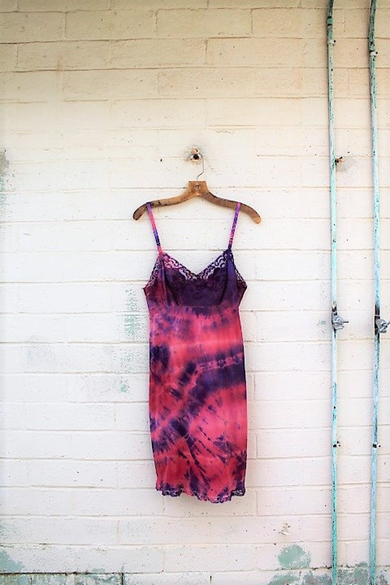 Small Purple Rose Slip dress/Vintage slip dress/slip Sundress/Oregon Dress/Dress/Pink Earth Sundress/Tie Dye Slipd ress/Oregon Countrygirl
