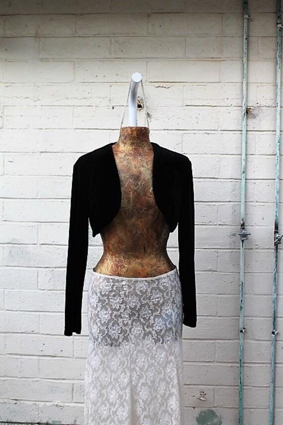 Small Black Velvet Bolero Jacket/Upcycled Desperately Seeking Susan Jacket/Cropped Jacket/80's Clothing/Velvet Jacket/Vintage Madonna Jacket