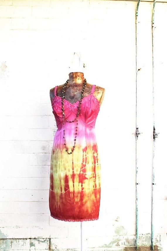 Medium Tangerine Cream Tie Dye Sundress/Hippie Dress/Fairy Dress/Music Festival Dress/Slip DressBlood Orange/Upcycled Clothing//Ecru