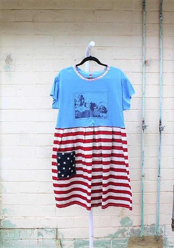 Golden Girls Dress/X Large Dress/Plus Size Repurposed Dress/Upcycled clothing/Mount Rushmore Dress/Patriotic 4th of July Dress/Dress