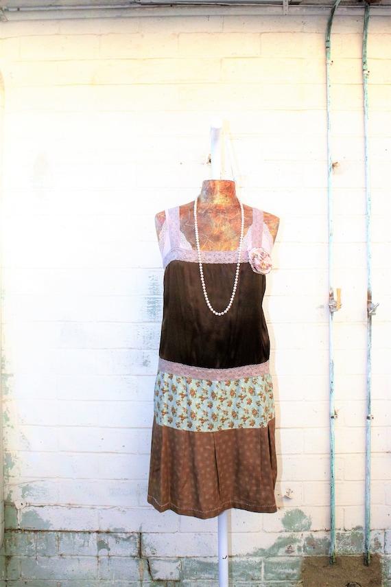 Medium Babydoll Boho Dress/Upcyled Clothing/ Mystical Fairy Dress/Nymph Dress/Upcycled Dress/Upcycled fairy Dress/Quilted Hippie Dress/Eco