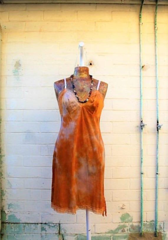 Large Tangerine Cream Tie Dye Sundress/Hippie Dress/Fairy Dress/Music Festival Dress/Slip Dress/Peaches and cream/Upcycled Clothing//Ecru