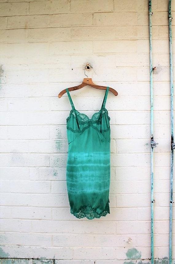 Tie Dye Slipdress/Small Romantic Fairy Dress/Fairy/Hippie Clothing/Hippie Dress/Fairy Dress/Green Teal Sundress Dress/Vintage Slip dress