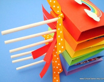 Rainbow Lollipop Covers, Rainbow Party Favors, Set of Ten