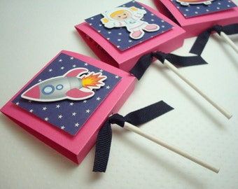 Outerspace Lollipop Party Favors, Pink and Blue, Set of Ten