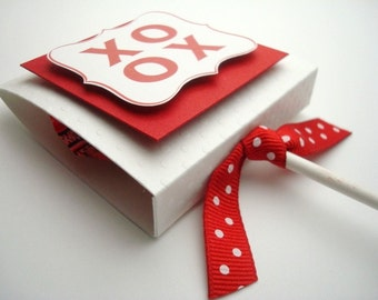 XOXO Red and White Valentine Lollipop Favors, Set of Ten