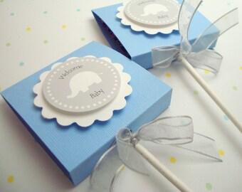 Blue and Gray Elephant Lollipop Favors, Set of Ten