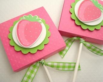 Pink Strawberry Lollipop Party Favors, Set of Ten