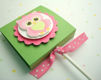 Pink and Green Owl Lollipop Covers, Set of Ten