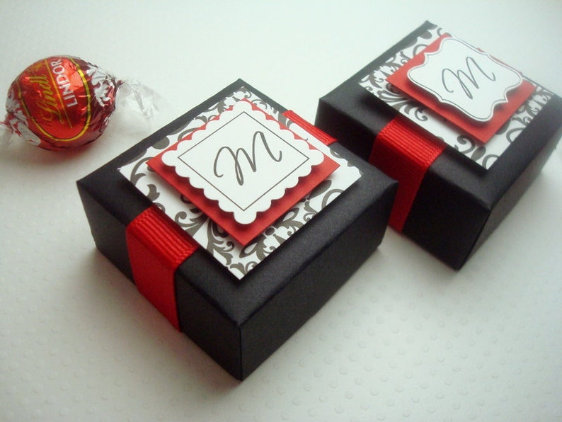 Personalized Wedding Favor Boxes Black And Red With Damask Etsy