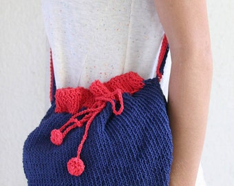 Hip Bag handmade Double Strap Cotton dark blue & red Pompoms-knit with two needles-