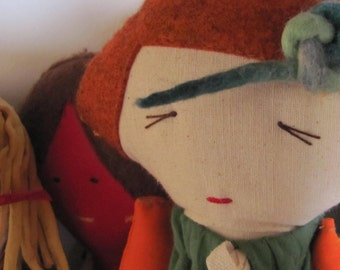 Doll Cotton doll. Handmade.Child friendly.Recycled.soft Toy.Fabric Doll..red green orange. Christmas gift Free Shipping