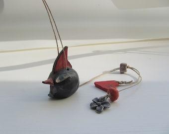 ceramic Marionette BlacK BirD BirD on string--Chrsitmas gift--handmade-Gift home decor under 50 USD