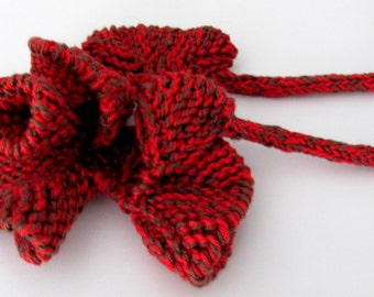 Christmas   Gift Textile jewelry--Unique Knitting necklace--Curly necklace-Jewelry --Fiber jewelry-RED-BROWN -Cotton--gift for her