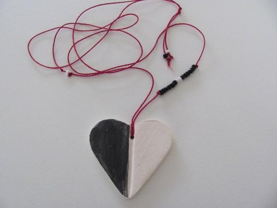 handmade white and black heart pendant in Spain handmade pendants Handmade ceramic necklace