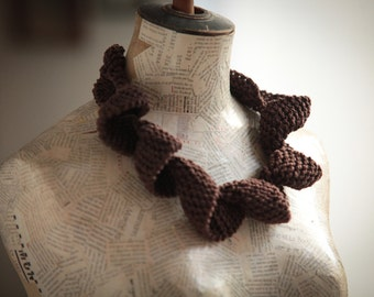 Jewelry  Textile jewelry, Unique Knitting necklace-Fiber jewelry Curly necklace-Jewelry Cotton Brown Christmas gift Free shipping women