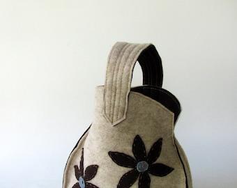 Sweet  Hand Bag--Brown    Flower  - Light blue Point--Felt flower-High Fashion-Gift for women  Christmas