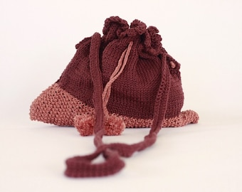 Hip Bag - Cotton- 2 shades of brown-Pompoms-gift-retro style-Chrsitmas gift--under 50 USD