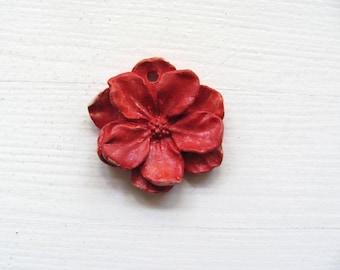 Ceramic Flower.Red.Decoration.ceramic Jewelry.christmes gift.