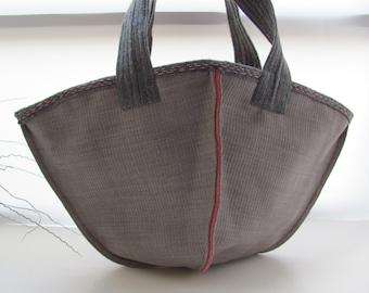 Christmas gift shopping bag  Kimono Bag--- InsideOut Canvas and Pink Felt. Hand Bag-limited eddition-handmade-stylish-woman--shopping bag