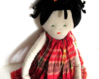 Cotton doll. Handmade.Child friendly.Recycled.soft Toy.Fabric Doll.Doll   handmade children love
