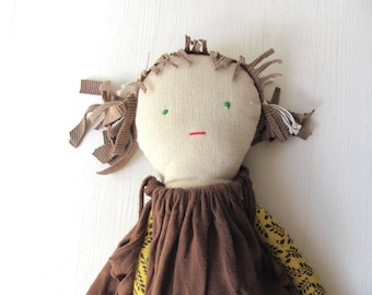Cotton doll. Handmade.Child friendly.Recycled.soft Toy.Fabric Doll.    children love