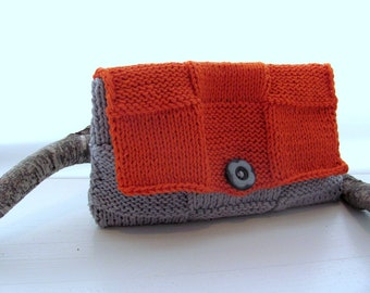 Clutch-Orange Gray---- Cotton-Gray Button- Great gift for her- Christmas gift Free Shipping