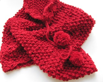 Hand knitted scarf Cotton RED---Soft  under 50 USD  Christmas gift Free Shipping