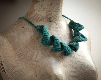 Christmas   Gift jewelry  Blue green Cotton jewelry Gift Textile jewelry  Fiber jewelry .women handmade