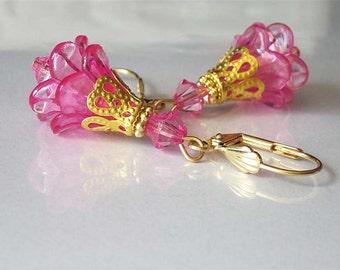 Pink Flower Earrings, Lucite Flower Jewelry, Dangle Earrings, Bright Pink Floral Earrings