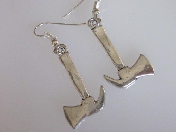 Tool Metal Earrings  Viking Earrings Axe Earrings  Saw Earrings  Metalwork Tools Earrings  Rustic Tools  Metalsmith Earrings  Forged Axe