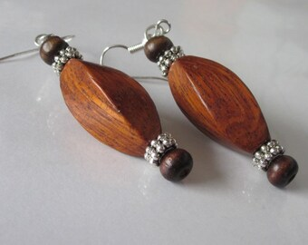 Wood Dangle Earrings, Natural  Bayong Wood, Twist Bead, Brown Boho,  Maple Brown, Natural Wood Jewelry