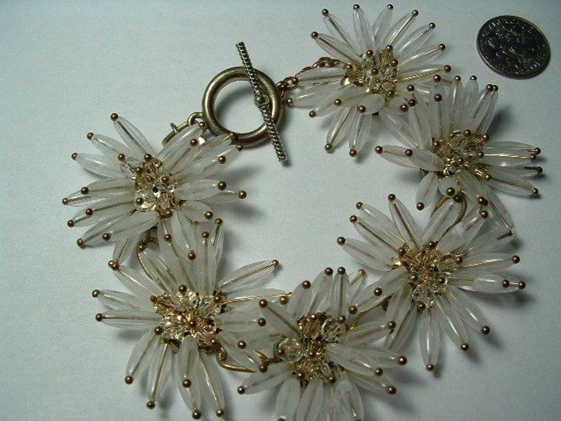 vintage signed T-- fancy flowers  with crystal centers so lovely - WILD CRAZY BRACELET