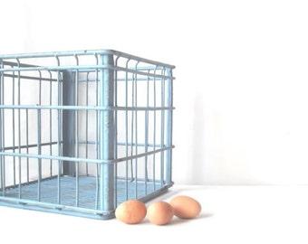 Vintage Metal Wire Milk Crate Robins Egg Blue Cottage Chic