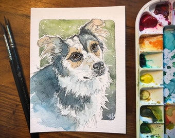 Pet Portrait - Watercolor Original Painting