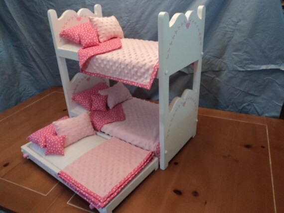 Doll Bunk Bed And Trundle For Your American Girl Or 18 Inch