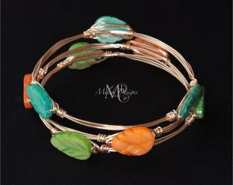 Wire Wrapped Bangles Mother of Pearl Shell Leaves Teal Orange Green Set of 3