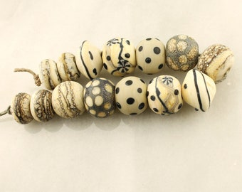 Lampwork Beads Set  Organic, Etched Matte Ivory, Gray, Black, Silver