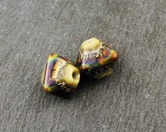 Lampwork  Glass Bead Pair, Chunky Crystal Bicone, Brown, Purple, Blue, Green, Silver